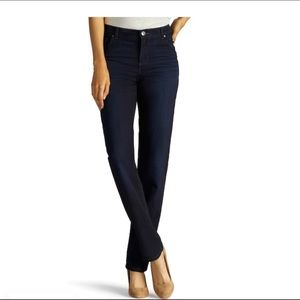 LEE JEANS Blk Relaxed Fit Straight Leg Mid Rise 8